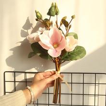 Sztuczne sztuczne kwiaty liść Magnolia kwiaty na ślub bukiet dekoracje na domowe przyjęcie sztuczne kwiaty wystrój domu na zewnątrz wieńce tanie tanio Bukiet kwiatów Z tworzywa sztucznego Party artificial flowers high quality artificial flowers china artificial flowers wedding arch