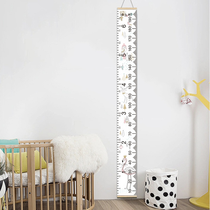 Hanging Canvas Height Ruler For Kids Cartoon Printed Decorative Growth Chart Wall Measurement Ruler Children Height Record Tools