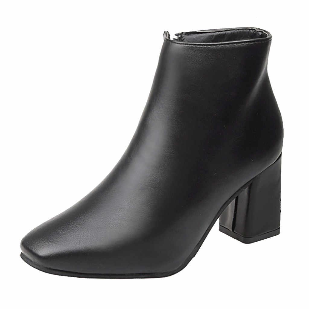 2019 botas de Invierno para mujer ocio punta puntiaguda con cremallera Tacón cuadrado Chelsea botas de cuero deslizamiento en punta cuadrada de color sólido zapatos