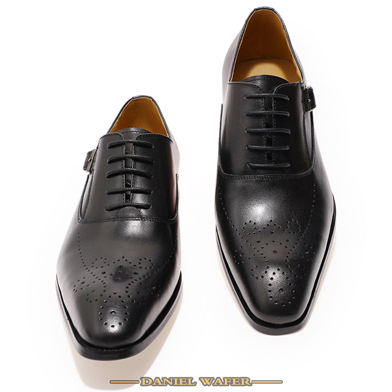 Luxury Brand Men Leather Shoes Genuine Leather Oxford Formal Shoes Men Dress Office Brown Black Lace up Buckle Strap Shoes Male 2