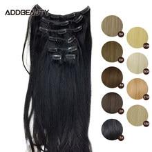 80g 100g 120g 7pcs-Clips kafa saç uzatma Addbeauty düz brezilyalı insan Remy saç doğal sarışın renk 1B #27 #60 #