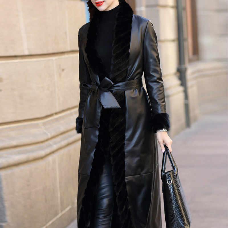 Skórzana kurtka damska kurtka z prawdziwej skóry owczej futro z norek płaszcz zimowy płaszcz z kaczego puchu Jaqueta De Couro BT18H02 YY730