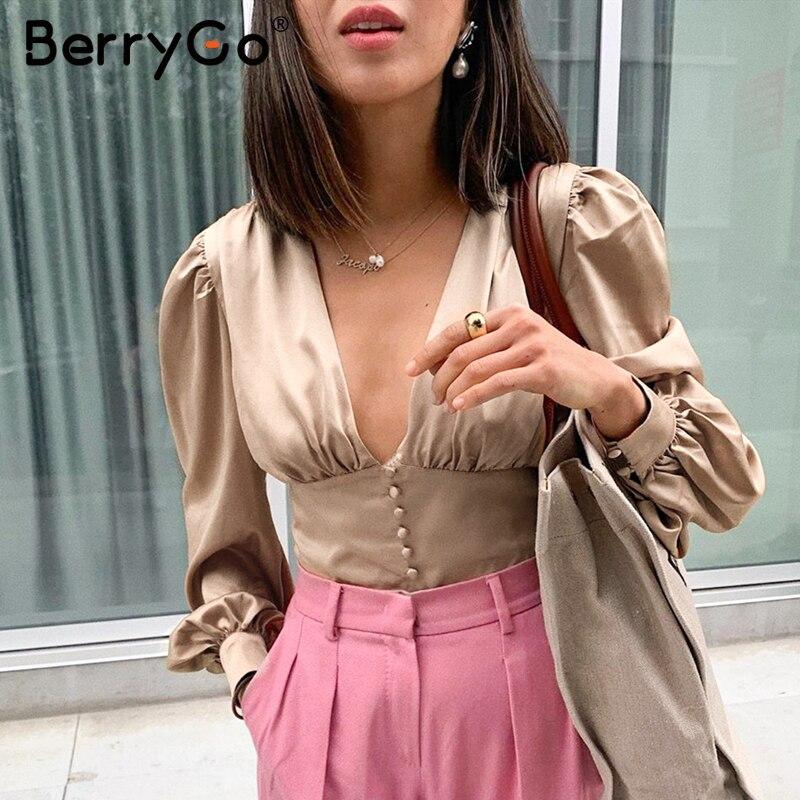 BerryGo Sexy V-neck Satin Blouse Women Shirt Puff Sleeve Ruffled Buttons Female Tops Vintage High Waist Ladies Autumn Blouses