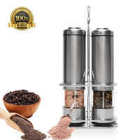 Electric Pepper Grinder Salt Mill 2 piece Set with Stainless Steel Stand with LED Light Seasoning Grinding Tool Automatic Mills