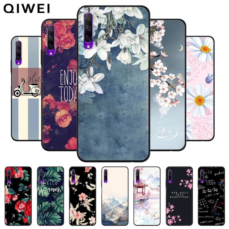 Para Huawei Y9S funda bonita flor pintada parachoques negro Funda trasera de silicona suave para Huawei Y9S fundas de teléfono para Huawei Y 9 s Y9 s Funda para Philips S561, funda blanda de silicona TPU para Philips S561, funda protectora de teléfono