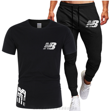 Summer new printing T-shirt + sports pants leisure 2-piece combination, men's casual suit, men's sports suit Casual sportswear