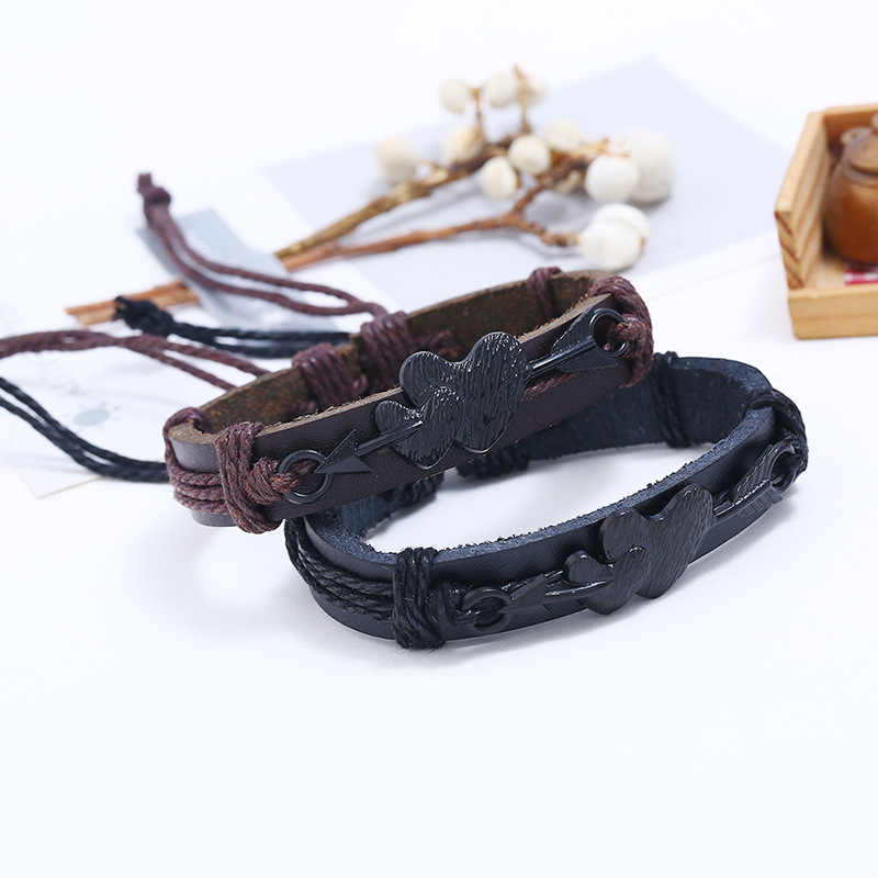 LE SKY New Fashion Note Leather Bracelet Women Men Leather Bracelets Punk Rope Chain Music Fans Unique Bangles For Male