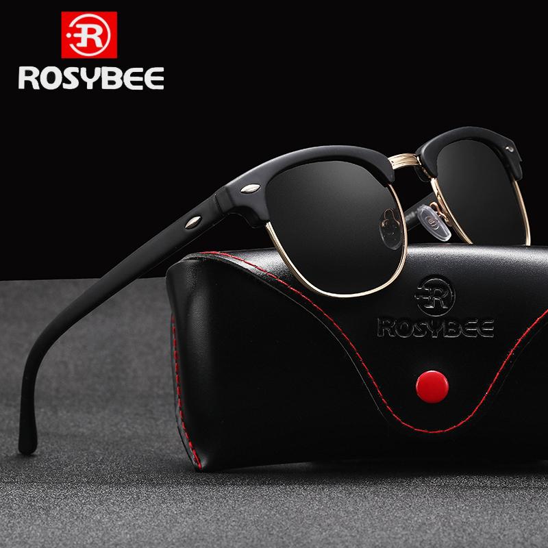 ROSYBEE UV400  Polarized Sunglasses men women Classic cool retro Sun glasses Coating  man Driving Shades fashion male oculos