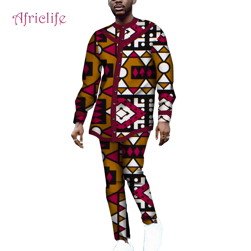Two Pcs Sets Bazin Riche Pattern <font><b>Men</b></font> Clothing Long Sleeve <font><b>Shirt</b></font> and Slim Long Pant <font><b>African</b></font> <font><b>Wax</b></font> Print Cotton <font><b>Men</b></font> Dresses WYN1064 image