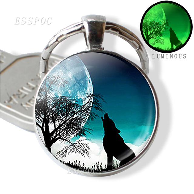 Glow In The Dark Wolf Key Chain Key Rings Holder Luminous Wolf Head Keychain Men Jewelry Gift 2