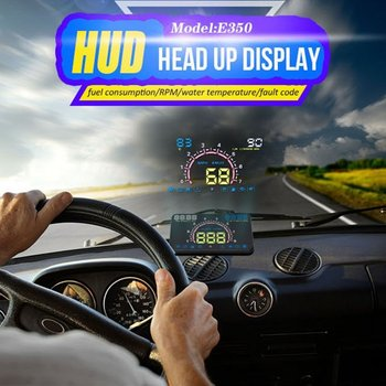 5.8-Inch OBD II Universal Hud Head Up Display Windshield Projector Hud Projector OBD2 EUOBD Car Driving Speed Meter image