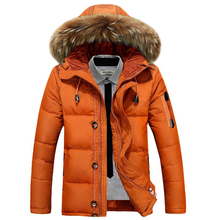 Men down cotton jacket winter new fur collar hooded Parkes fashion high quality coat male thick Windbreaker
