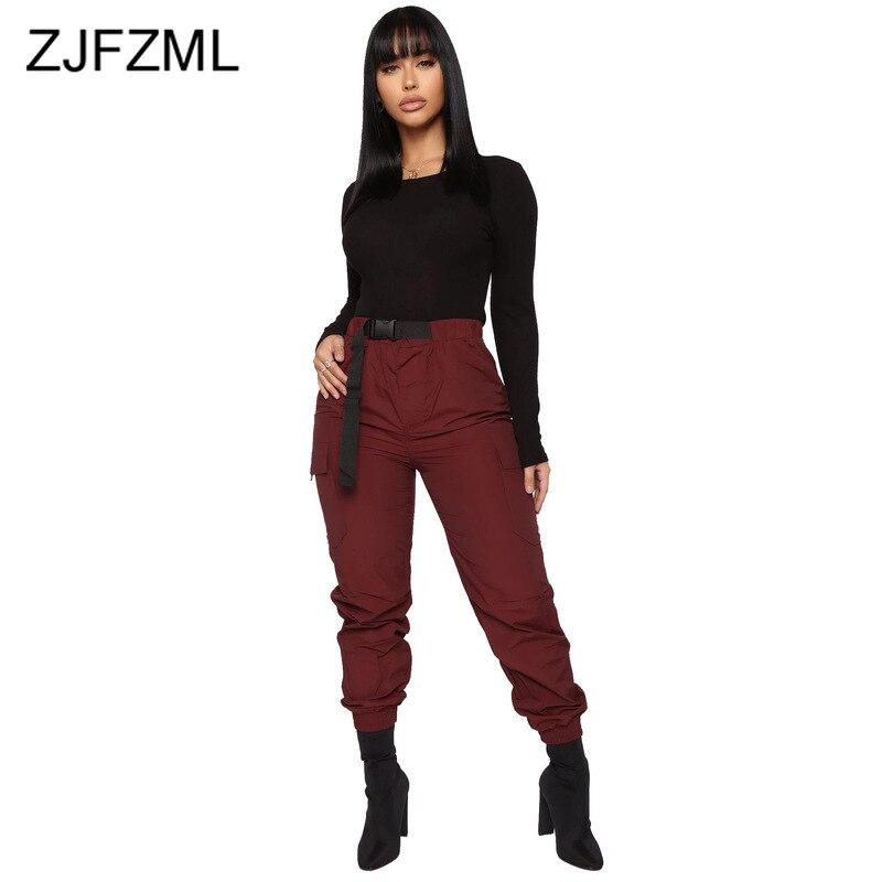 High Waist Streetwear Cargo Long Pants Women Casual Full Length Jogger Trousers Korean Style Female Black Burgundy Loose Capris