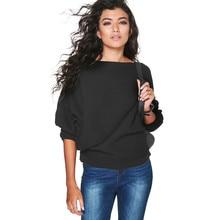 Nuevo Otoño Invierno 2019 suéter Casual de mujer de manga larga de murciélago suéter de punto de Color sólido suéter suelto de algodón Tops