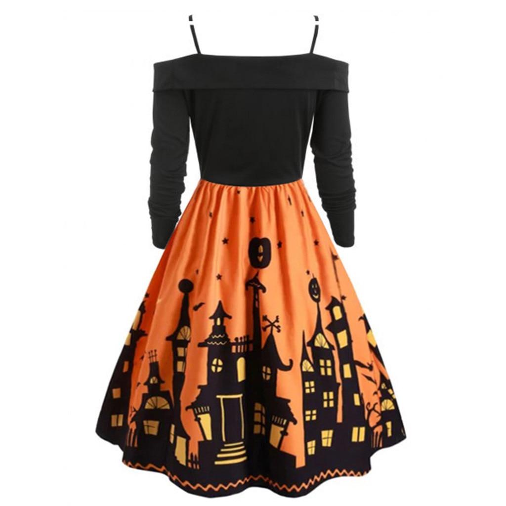 Women Pumpkin Party Print Dress Halloween Long Sleeve V 10