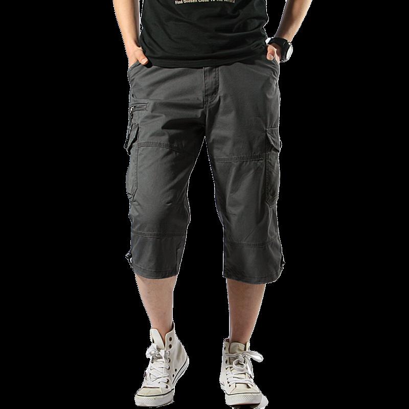 2018 New Mens Summer Army Cargo 3/4 Three Quarter Pants Cotton Multi Pockets Military Tactical Camo Casual Men Jogger Short