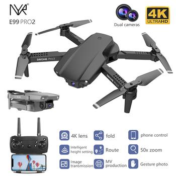 NYR E99 Pro2 zdalnie sterowany Mini Dron 4K 1080P 720P podwójny aparat WIFI FPV fotografia lotnicza helikopter składany Quadcopter Dron zabawki tanie i dobre opinie CN (pochodzenie) Z tworzywa sztucznego 100m 18*26*5 5cm Mode2 15 days Silnik szczotki 3 7V 4 kanały Oryginalne pudełko