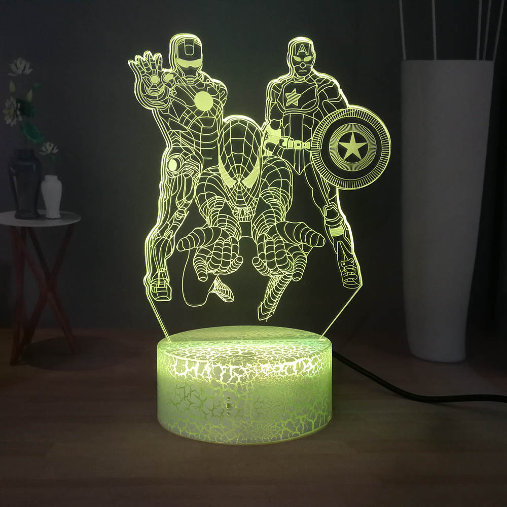 Iron Man Spider-Man Captain America Battle Table Lamp Marvel Comic Movie Fans Best Gift LED Bedside Night Light Free Shipping