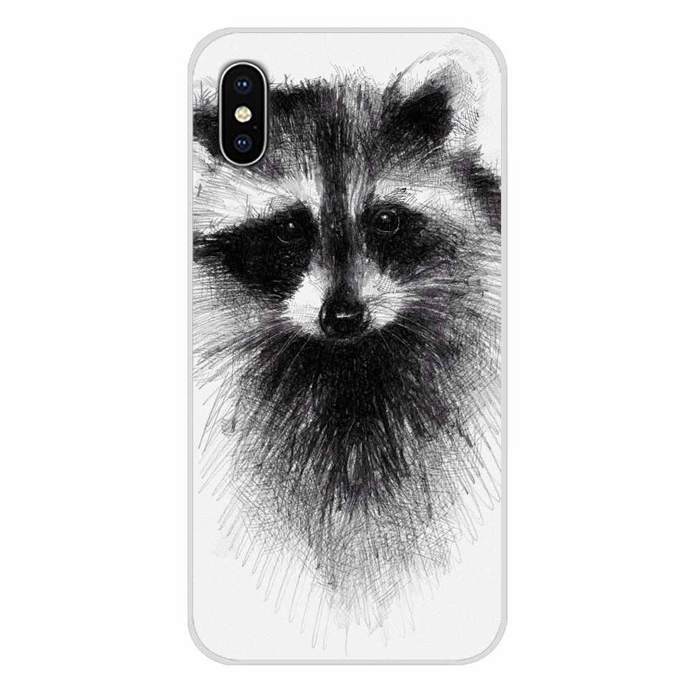 For Sony Xperia Z Z1 Z2 Z3 Z5 compact M2 M4 M5 C4 E3 T3 XA Huawei Mate 7 8 Y3II fashion Raccoon Art Print Accessories Skin Cover