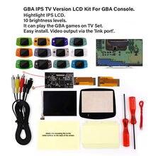 V2 ips lcd versão tv para gba retroiluminação lcd 10 níveis de brilho para gba versão tv para o console gba e pré-corte caso escudo