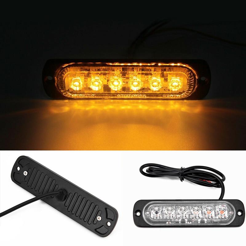 Yellow 6 LED Car Truck Emergency Beacon Warning Hazard Flash Strobe Light Bar