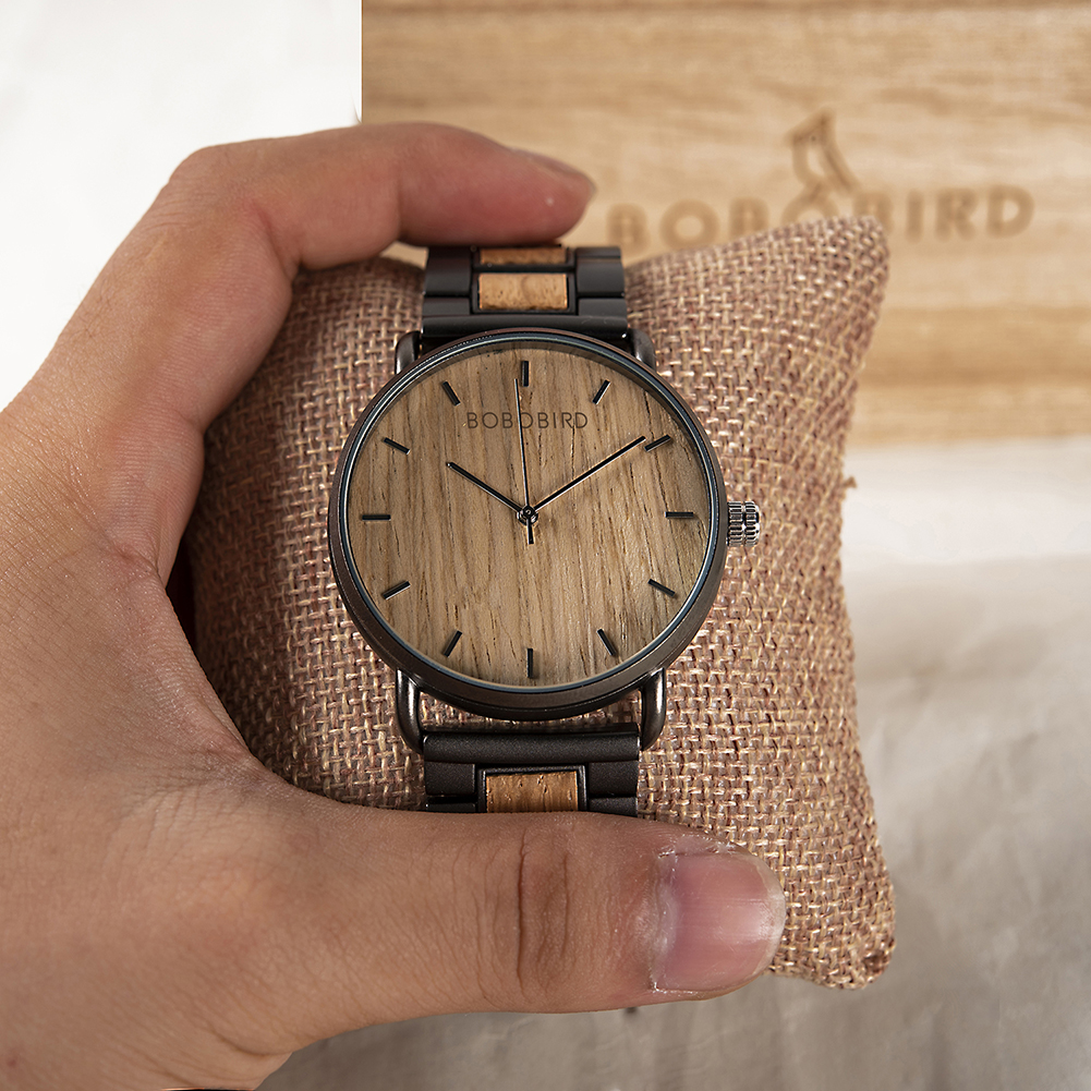 BOBO BIRD Men's Simple Luxury Wood and Stainless Steel Watch