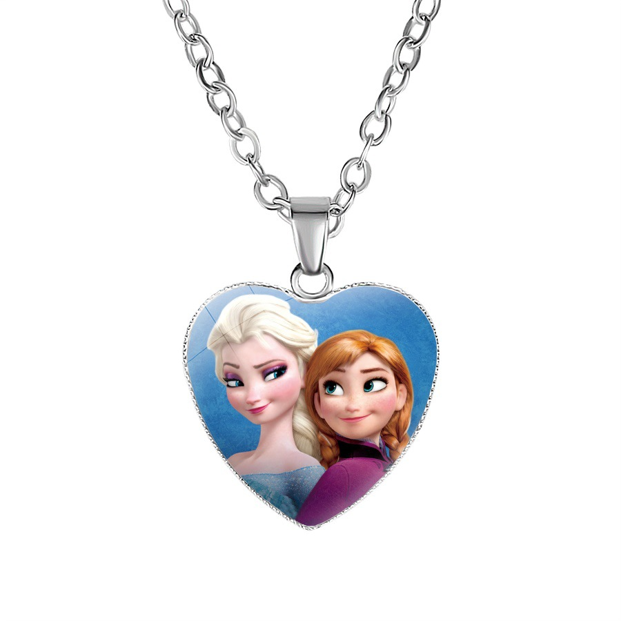 Princess Children Cartoon Necklace Lovely Girls Heart Gift Pendant Children's Toys Clothing Accessories Kid Make Up Jewelry Toys