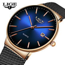 LIGE 2020 New Mens Watches Top Brand Luxury Ultra Thin Stainless Steel Waterproo
