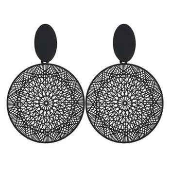 Trendy Earring 2019 Black Round Circle Drop Earring For Women Hollow Geometric Korean Dangle Earring Fashion Jewelry pendientes - DISCOUNT ITEM  60% OFF All Category