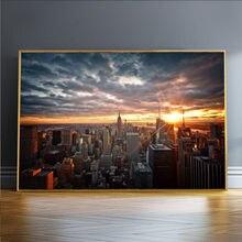 Нью Йорк город закат вид холст настенные картины художественные
