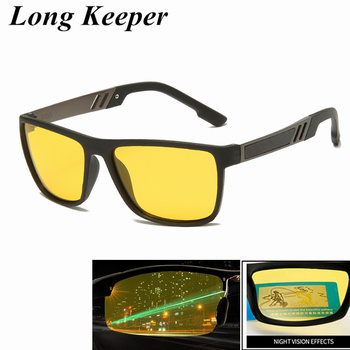 Night Vision TR90 Sunglasses for Men UV400 Protection Night Driving Glasses Male Polarized Yellow Lens Sun Glasses polarized clip on sunglasses driving night vision lens sun glasses male anti uva uvb for men women with case