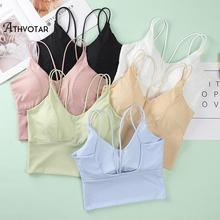 ATHVOTAR Seamless Crop Top Women Ice Silk Tube Top Summer Cross  Bralette Tank Tops With Chest Padded Fitness Camisole Underwear