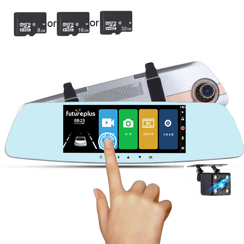 TOSPRA Car Dvr Camera Camcorder Rearview-Mirror Dual-Lens Registratory Night-Vision Full-Hd