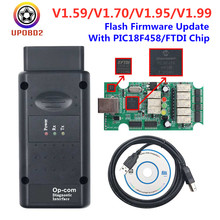 Mais novo op com 1.70 1.95 1.99 1.59 para opel com pic18f458 + ftdi chip obd2 obd 2 ferramenta de diagnóstico opcom v1.70 pode ser flash atualização