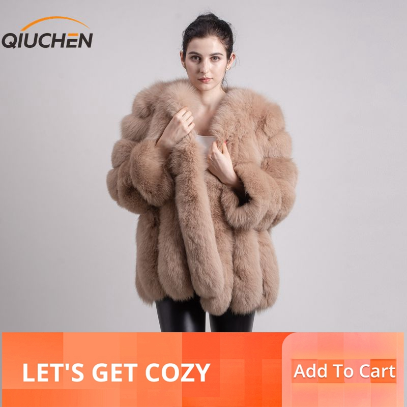 QIUCHEN PJ8128 2019 جديد وصول شحن مجاني النساء الشتاء الثعلب الحقيقي الفراء معطف الساخن بيع كبيرة الفراء طويل كم الأزياء الفتيات سترة-في فراء حقيقي من ملابس نسائية على  مجموعة 1