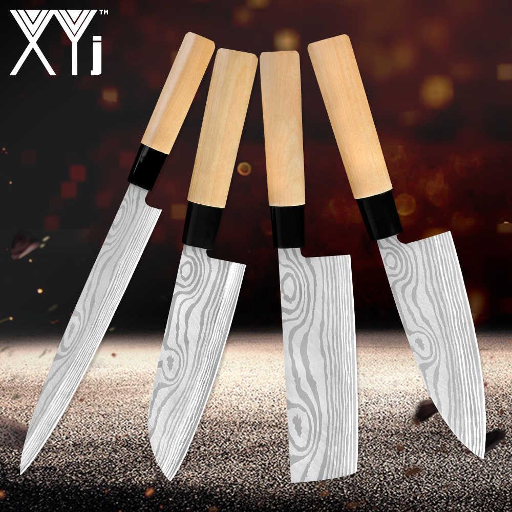 XYj japon mutfak bıçağı lazer şam desen şef bıçağı Santoku Cleaver dilimleme Utility 4 adet Set mutfak barbekü parti aracı