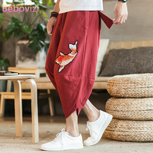 Plus Size M-5XL New 2021 Summer Chinese Cotton Linen Beach Loose Harem Pants for Men Gray Red Black Thai Japan Kimono Bloomers
