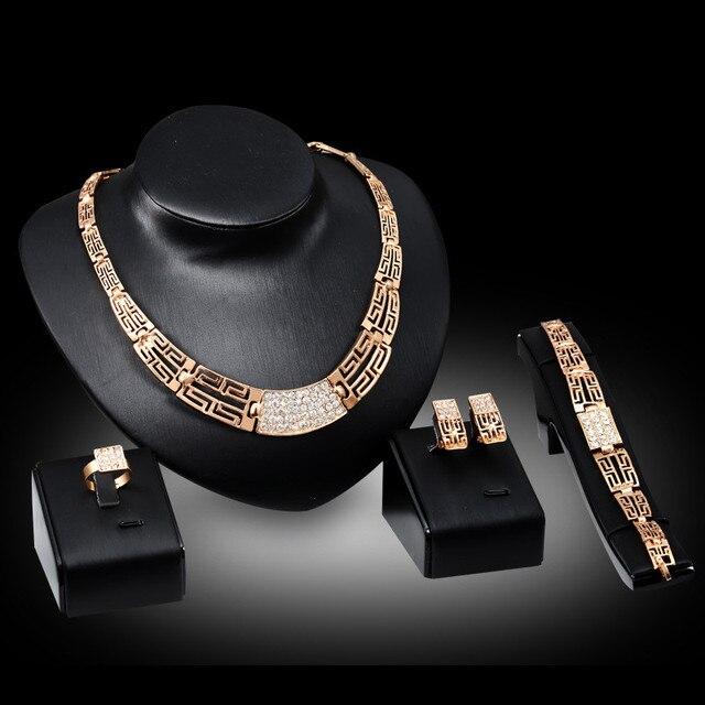 Conjunto de joyería para mujer, oro nuevo, Vintage, anillo circón cuadrado, Gargantilla dorada, collar para mujer, pulseras de marca 2