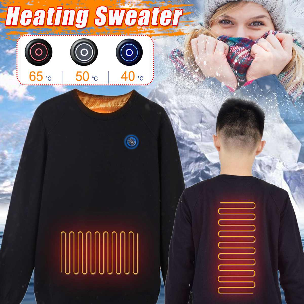 Men Women USB Heating Clothes Winter Electric Heating Sweaters Shirt Carbon Fiber Heated Warm Jacket