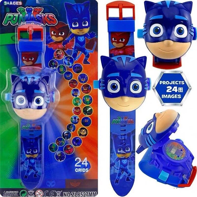 PJ Masks Toys 3D Projection Watch Toys Set Clock Action Figure PJ Masks Action Figure Cartoon Patterns Clocks Kids Birthday Gift