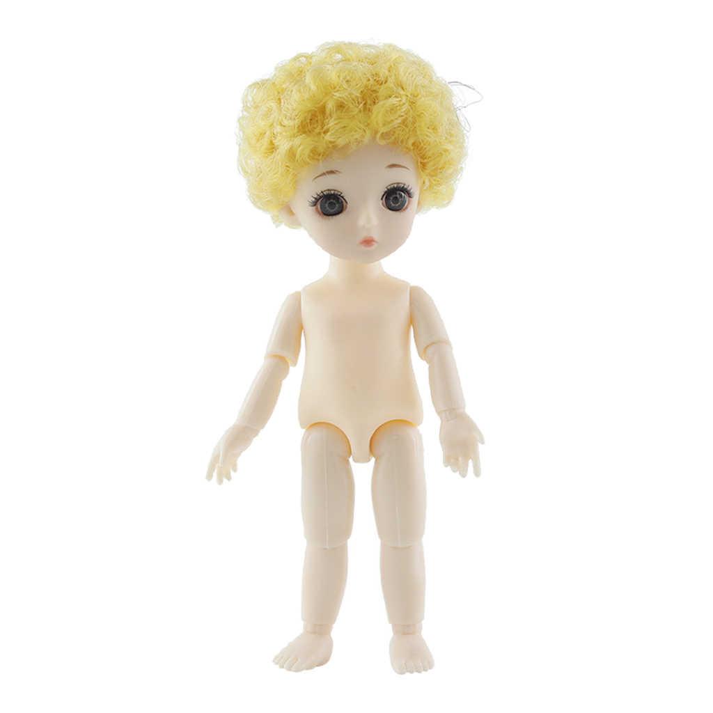 16 ซม.ตุ๊กตา BJD Body รูป,ยืดหยุ่น 13 ข้อต่อหุ่น Naked Girl ตุ๊กตาหัวผมเต็มชุดสำหรับตุ๊กตาอุปกรณ์