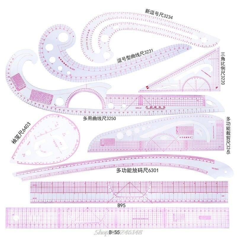 Линейка французская кривая для резки, инструменты для шитья, измерительное средство, линейка для портного, рисования, Au28 20, 6/9/10 шт.