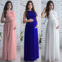 Elegant Women Dress Chiffon Sleeveless Maxi Dress Solid Color Pregnant  Pregnancy Dress Vestido Nursing Dress For Photo Shoot fashionable round collar sleeveless pleated solid color dress for women