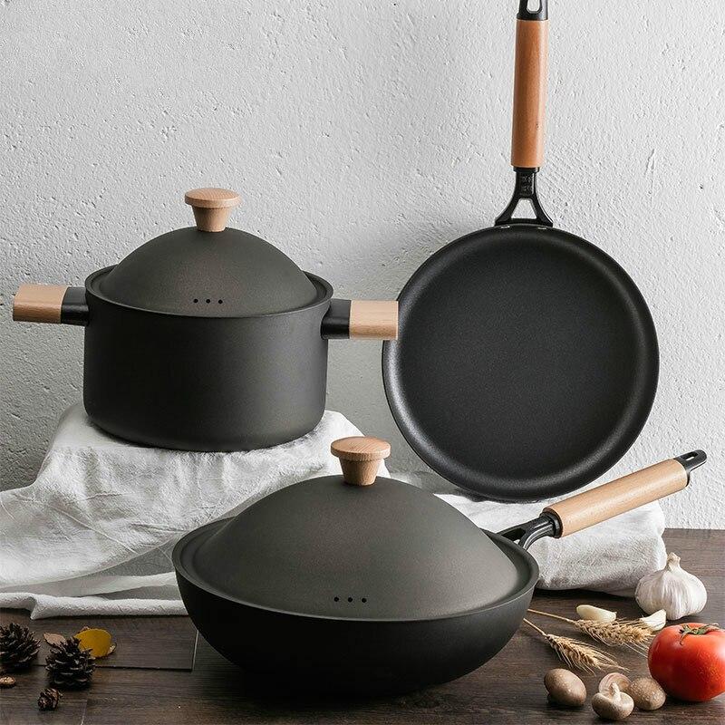 3 pièces en métal fer casseroles ensemble ensemble de casseroles et casseroles cuisine pot coréen ensemble de batterie de cuisine pour table soupe chaude Avec Couvercle