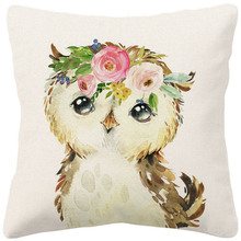 Cushion-Covers Pillow-Case Throw Lion Animal Home-Decor Rabbit Deer Owl Hand-Painting