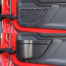 2 шт., коробка для хранения передней двери автомобиля, сетчатый держатель, органайзер, коробка для 2011- Jeep Wrangler JK JKU, 2/4 дверная сетка, карман, автозапчасти