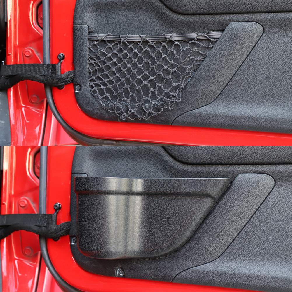 2pcs Car Front Door Storage Box Net Holder Organizer Box for 2011-2018 Jeep Wrangler JK JKU 2/4-Door Door Net Pocket Auto Parts