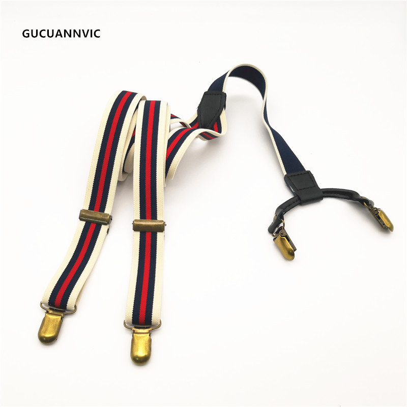 Personality Fashion Stitching Blue And Striped Combination Suspenders Women Men 4 Clips Retro Free Adjustable Length Braces