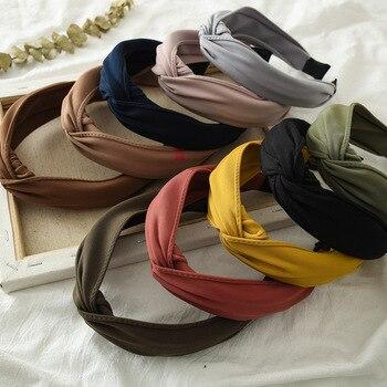Ruoshui Woman Solid Knot Hairband Bezel Girls Headband Women Hair Accessories Headwear Bandana Hoop Tiara - discount item  41% OFF Headwear