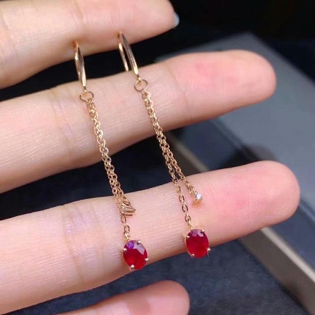 shilovem 18k rose gold real Natural ruby Gemstone drop earrings plant women fine new Christmas Gift 4*5mm  de0405881h 2